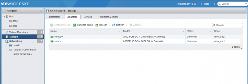 ESXI Storage Menu Adapters Tab