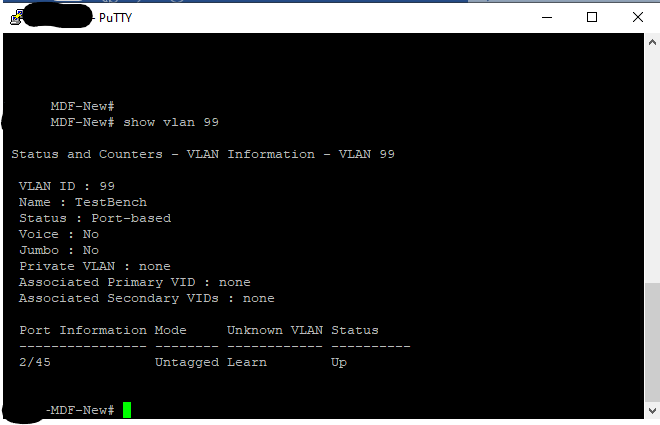 Showing port untagged on proper VLAN