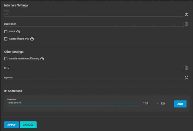 TrueNAS Interfaces Configuration Menu