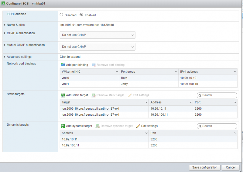 ESXI Software ISCSI Configuration Page