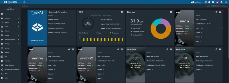 TrueNAS Core Beta Homepage