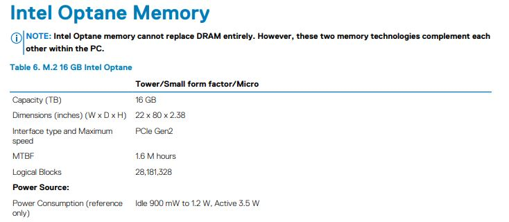 Dell OptiPlex 3070 Micro Intel Optane Memory Support