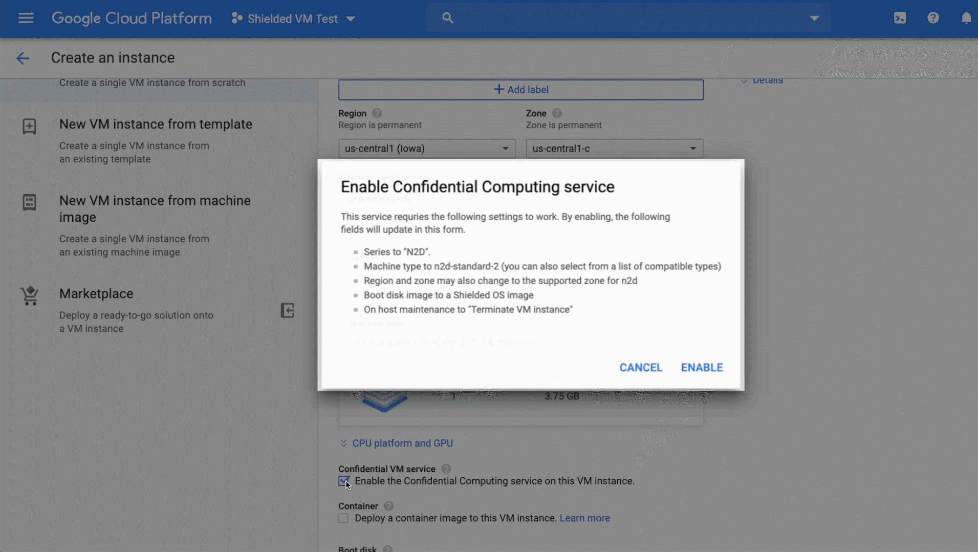 Google Confidential VM Enable