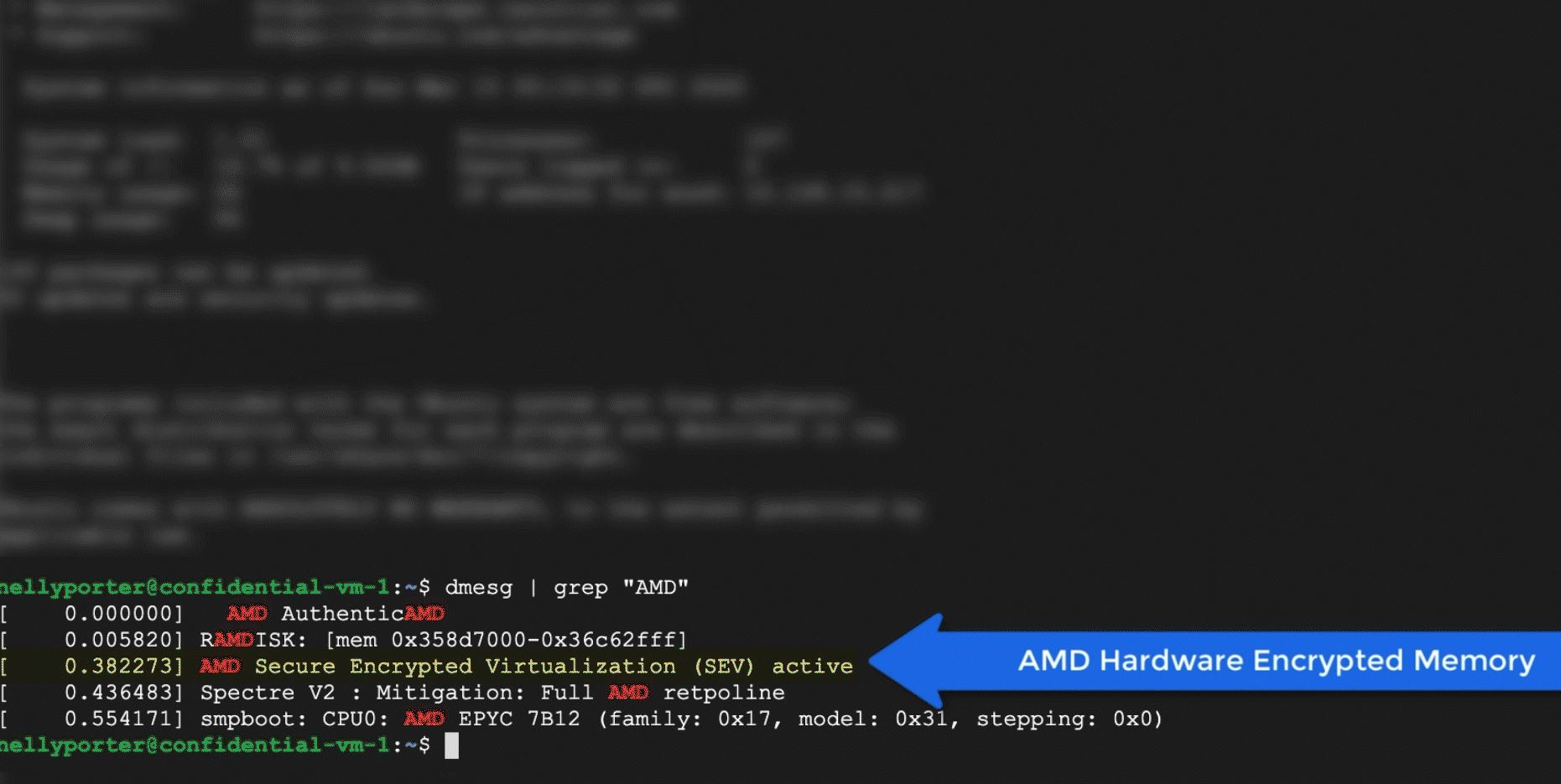 Google Confidential VM SEV Enabled On AMD EPYC 7B12 CPU