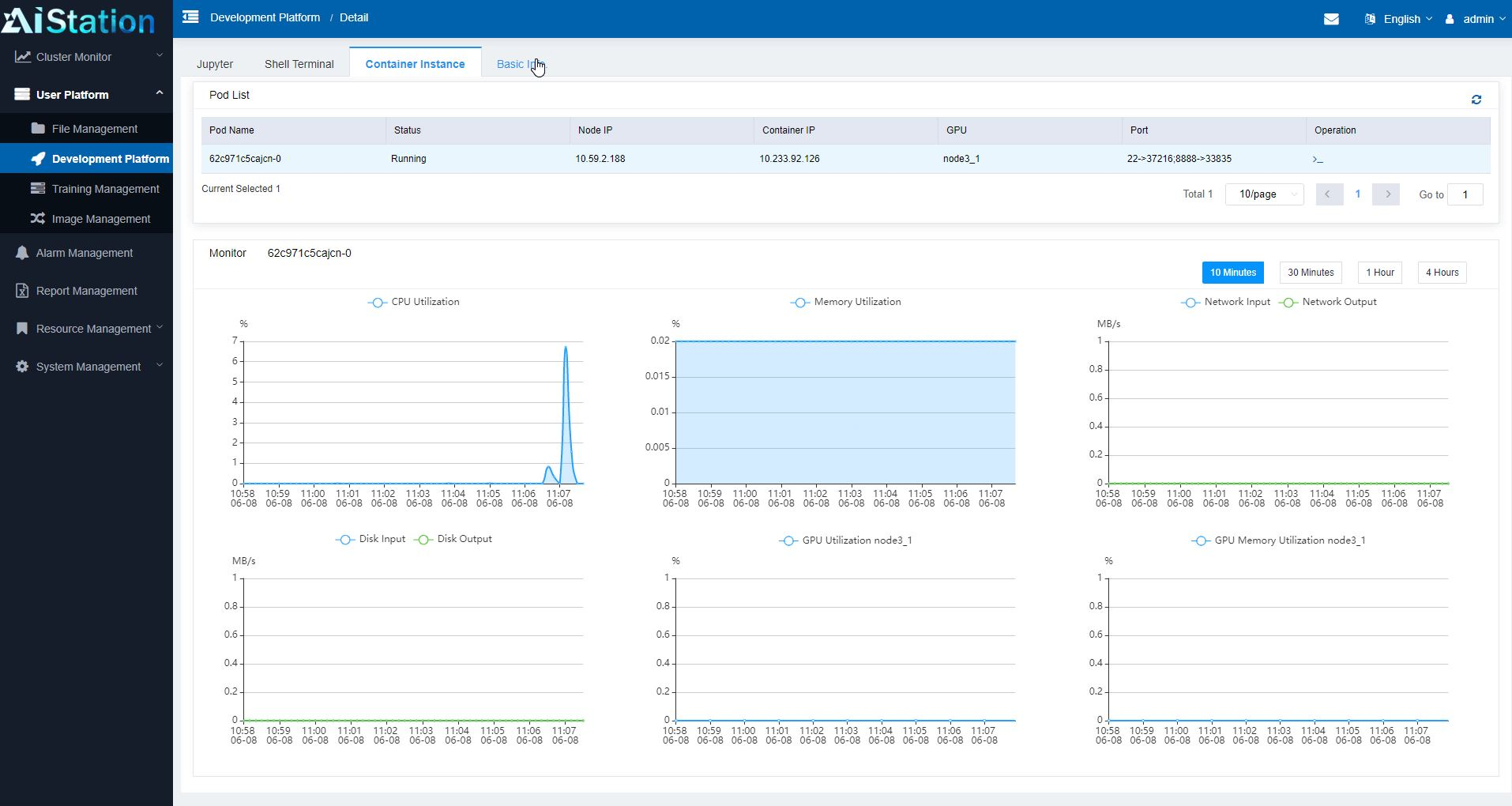 Inspur AIStation Admin User Platform Development Platform Container Monitoring