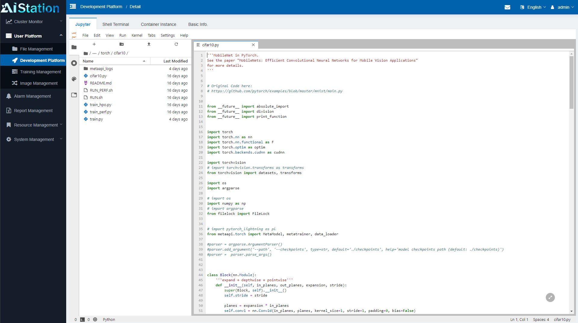 Inspur AIStation Admin User Platform Development Platform Jupyter