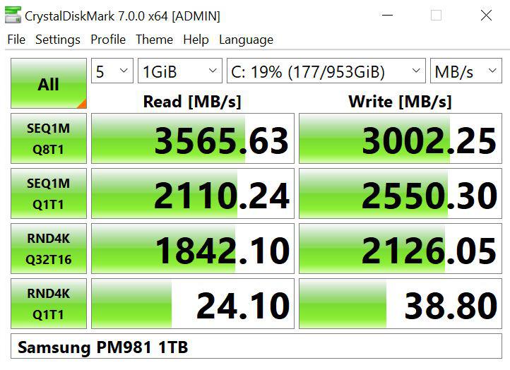 Lenovo ThinkStation P920 CrystalDiskMark