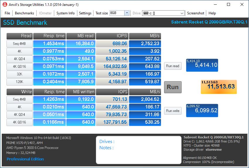 Sabrent Rocket Q 2TB Anvil 8GB