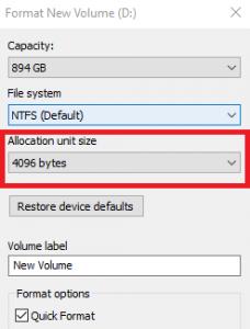 Windows Formatting Screen