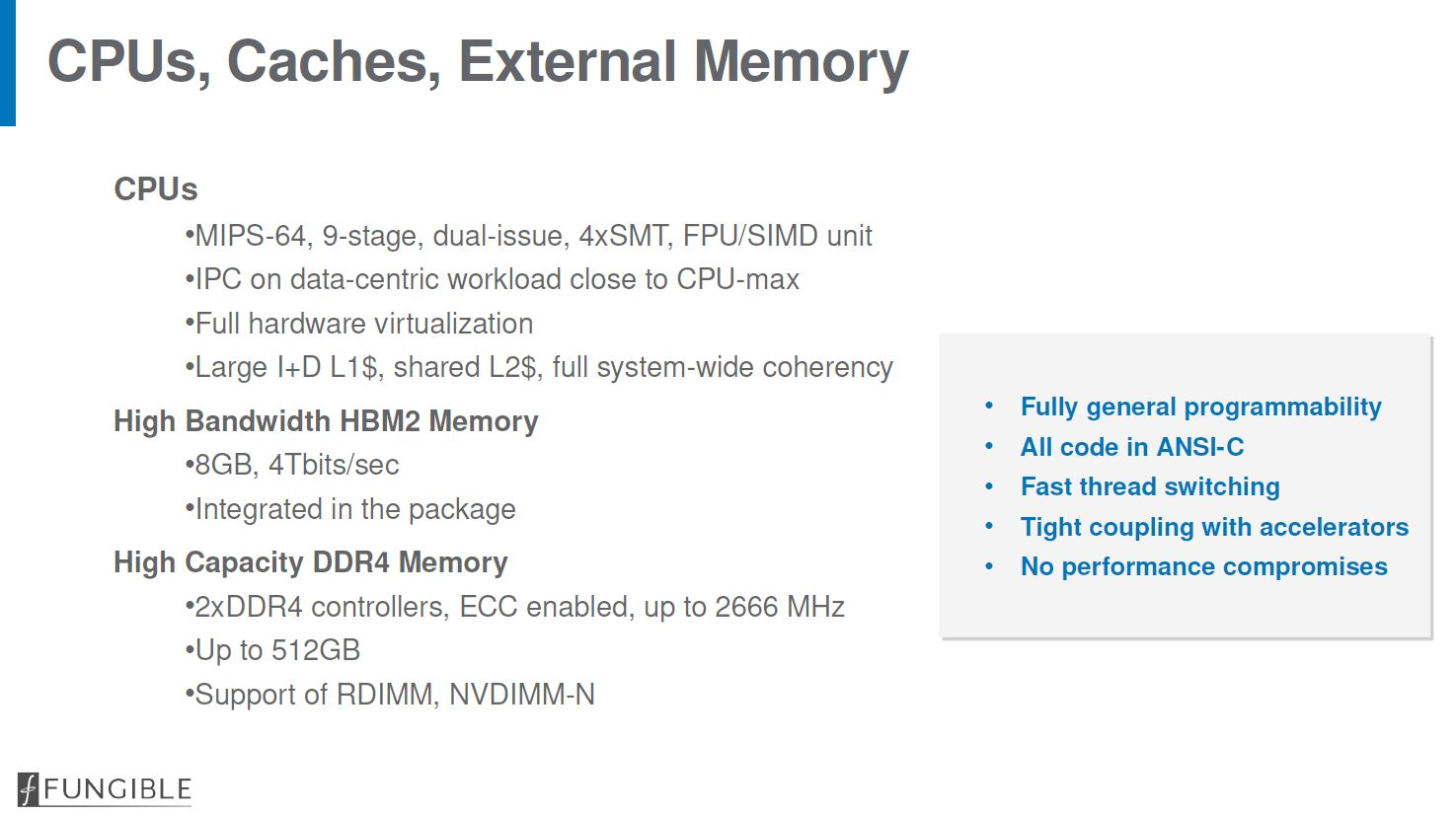 Hot Chips 32 Fungible F1 DPU CPU Cache Memory