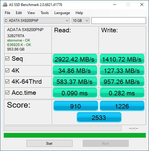 SX8200 Pro 1TB ASSSD 10GB