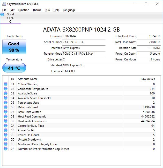 SX8200 Pro 1TB DiskInfo