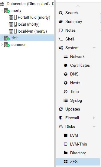 Proxmox Disks, ZFS Menu
