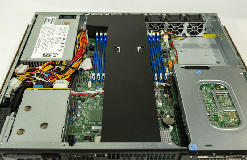 Supermicro SYS 1019P FHN2T Intel PAC N3000 Installed Internal View With Airflow Guide Installed