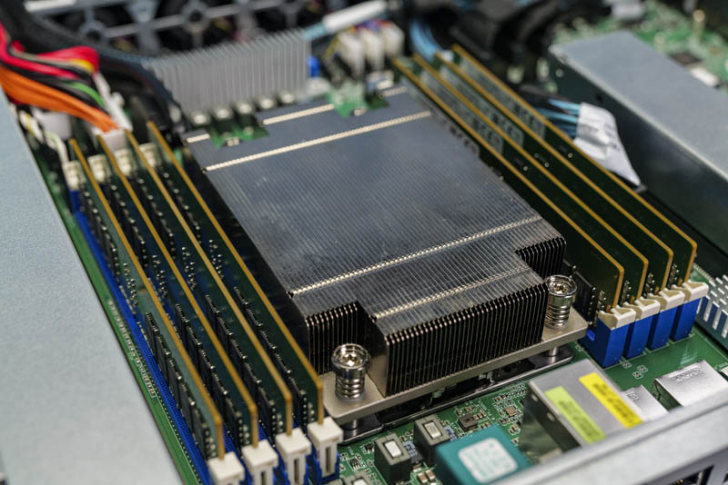 ASRock Rack 1U10E ROME2T CPU Socket Heatsink And Memory Populated