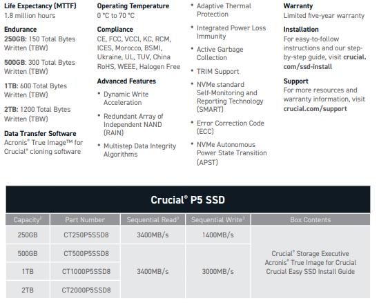 Crucial P5 1TB Specs