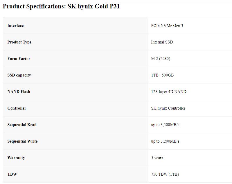 SK hynix Gold P31 1TB Specs