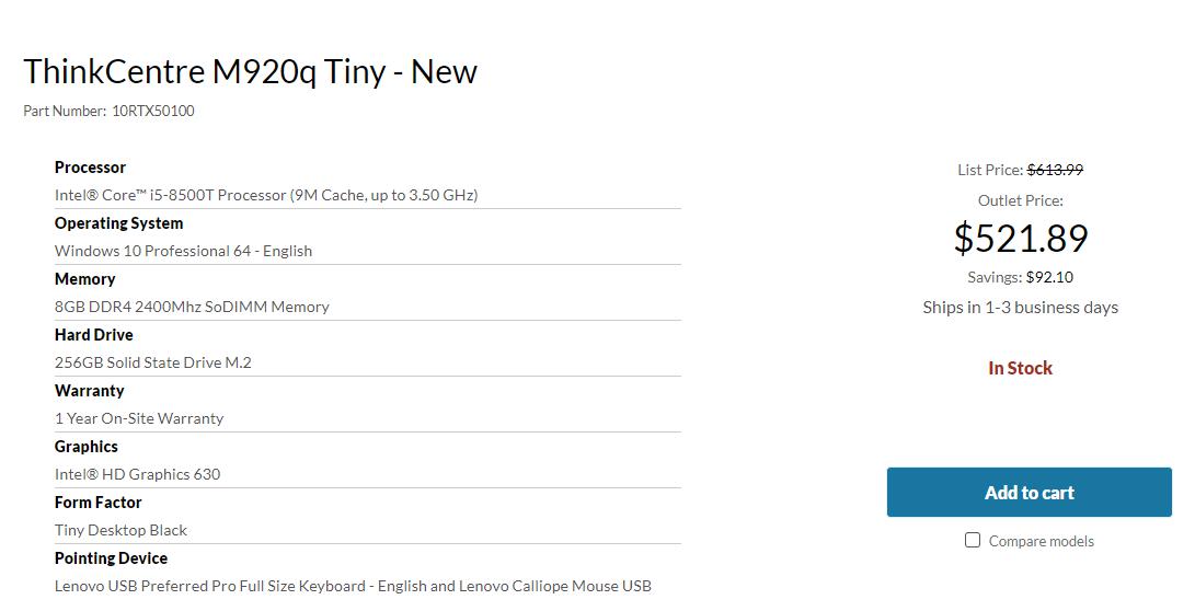 M920q Tiny Lenovo Outlet
