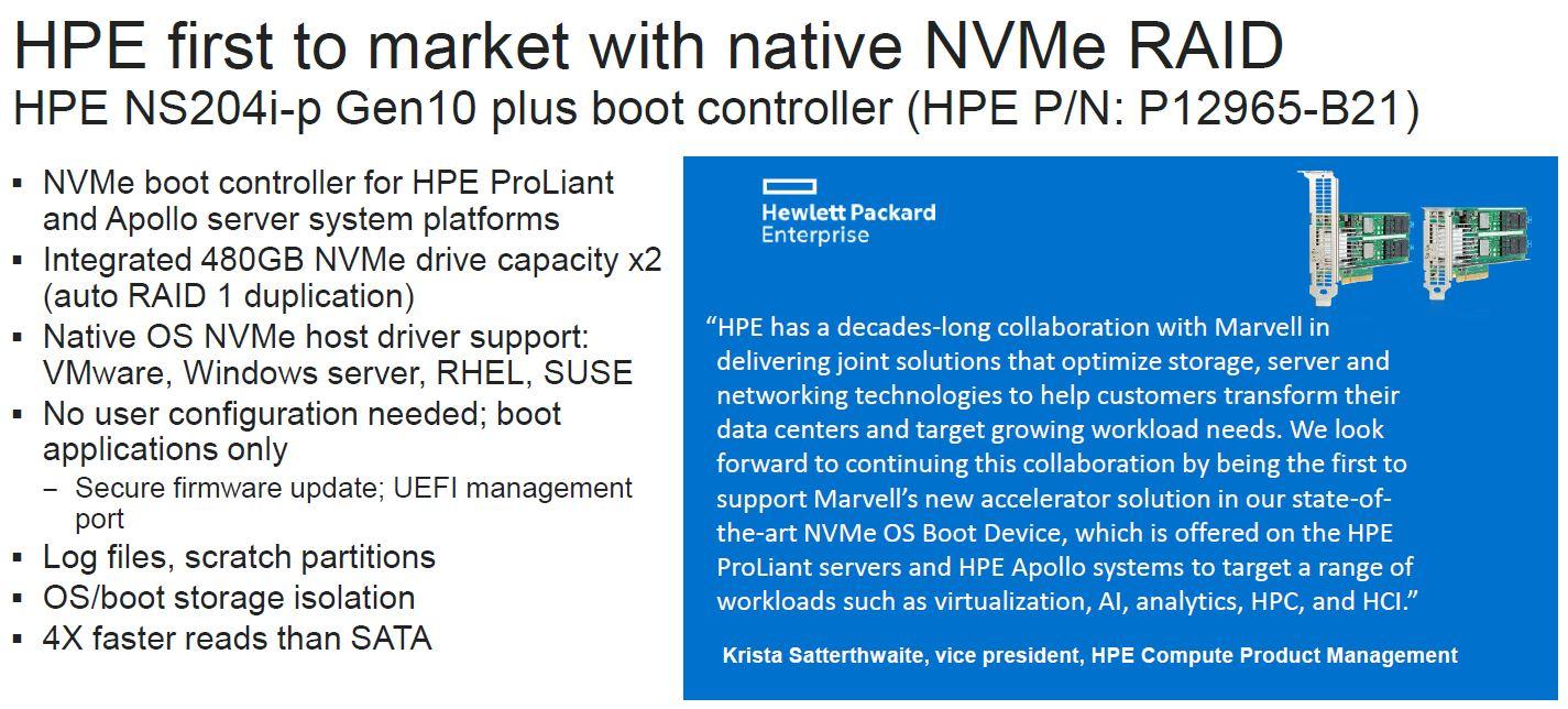 Marvell NativeRAID NVMe RAID HPE