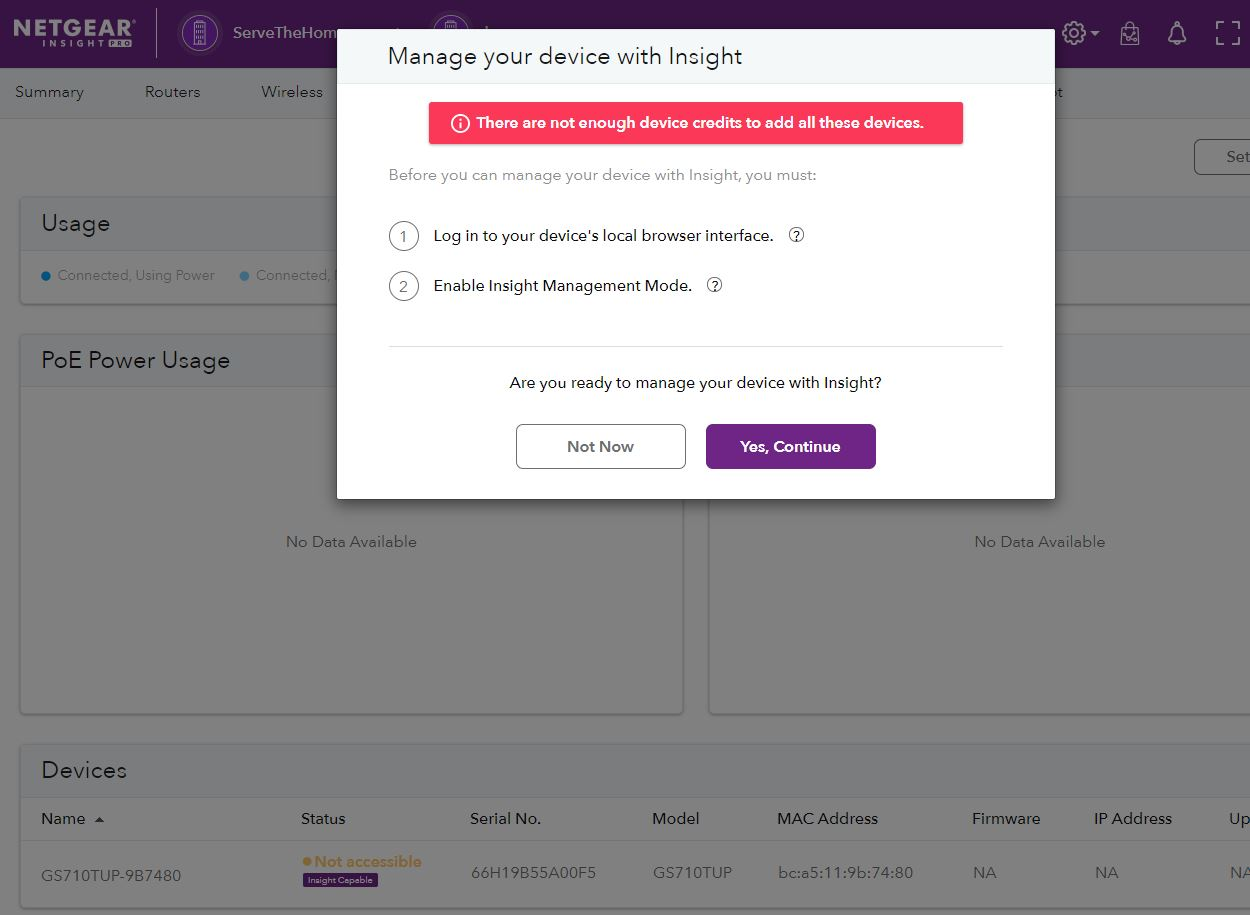Netgear GS710TUP Insight Capable Not Enough Device Credits