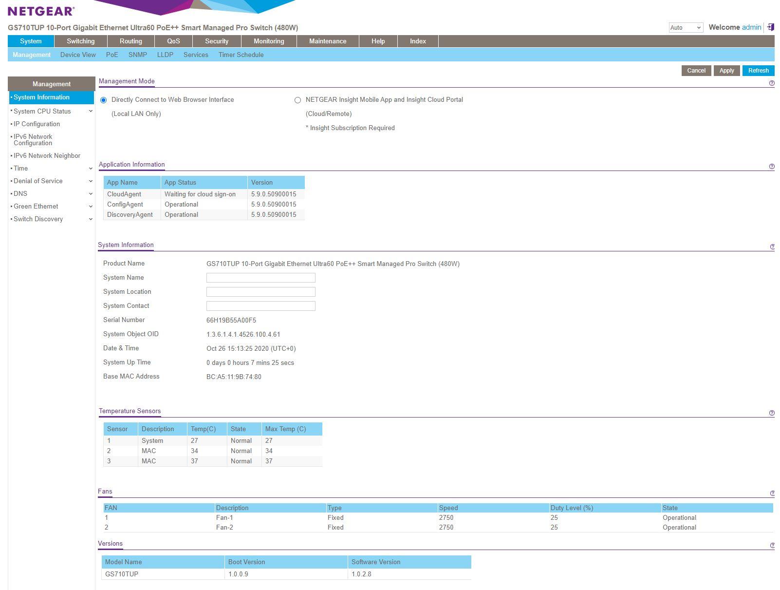 Netgear GS710TUP Insight Management Registered LAN Dashboard