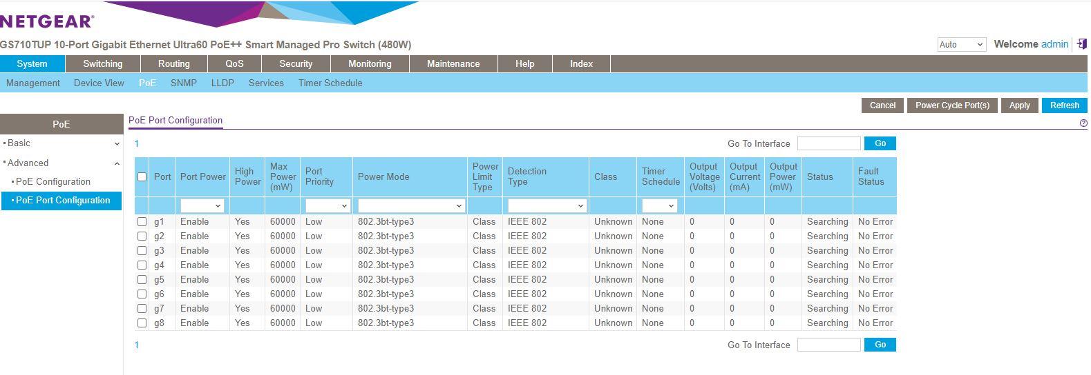 Netgear GS710TUP Insight Management Registered PoE Dashboard