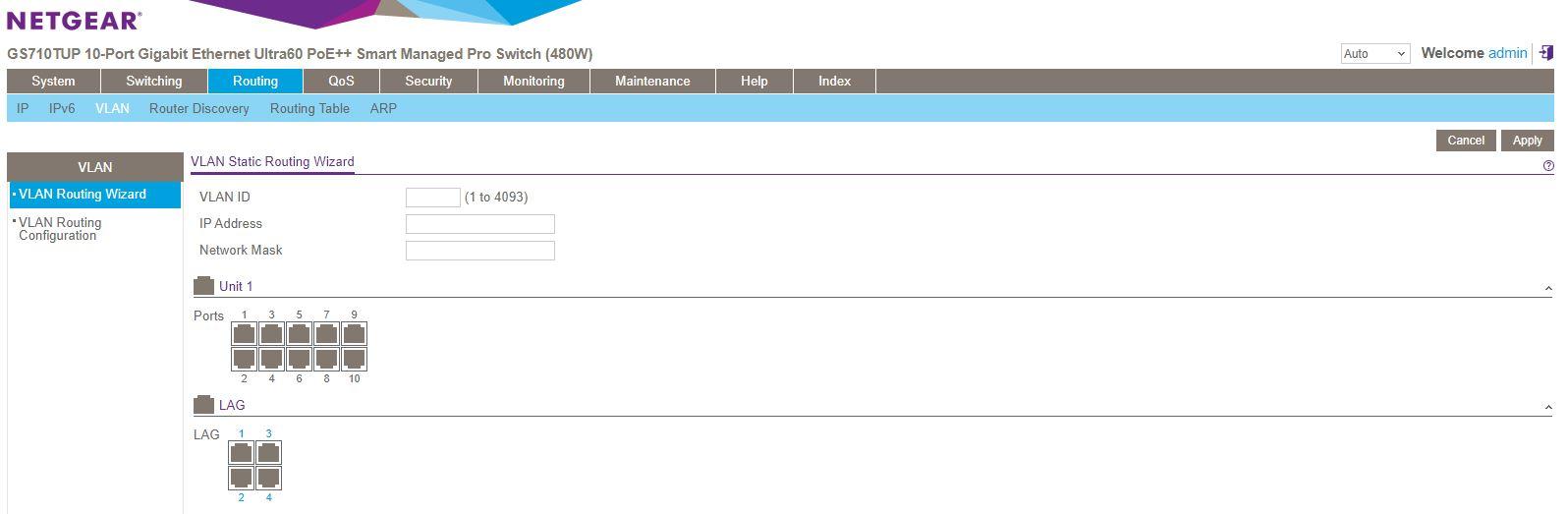 Netgear GS710TUP Insight Management Registered Routing VLAN Configuration