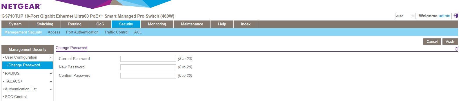 Netgear GS710TUP Insight Management Registered Security Configuration