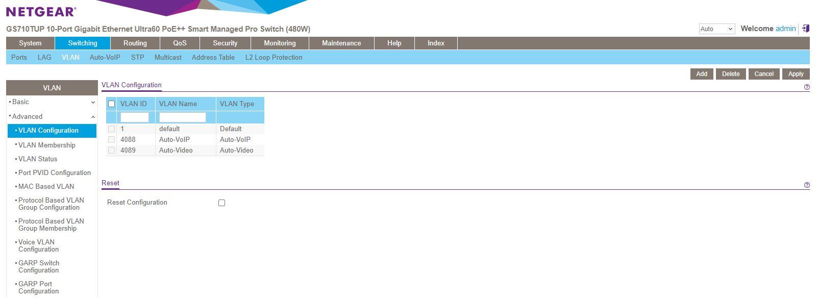 Netgear GS710TUP Insight Management Registered VLAN Configuration