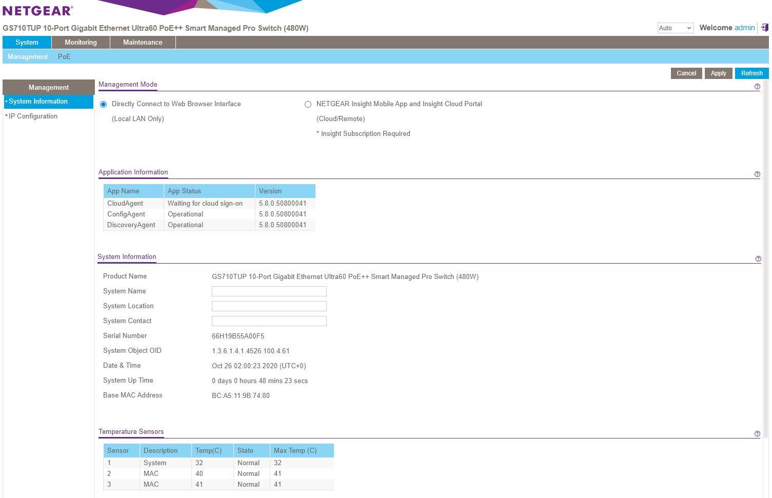 Netgear WebGUI Dashboard