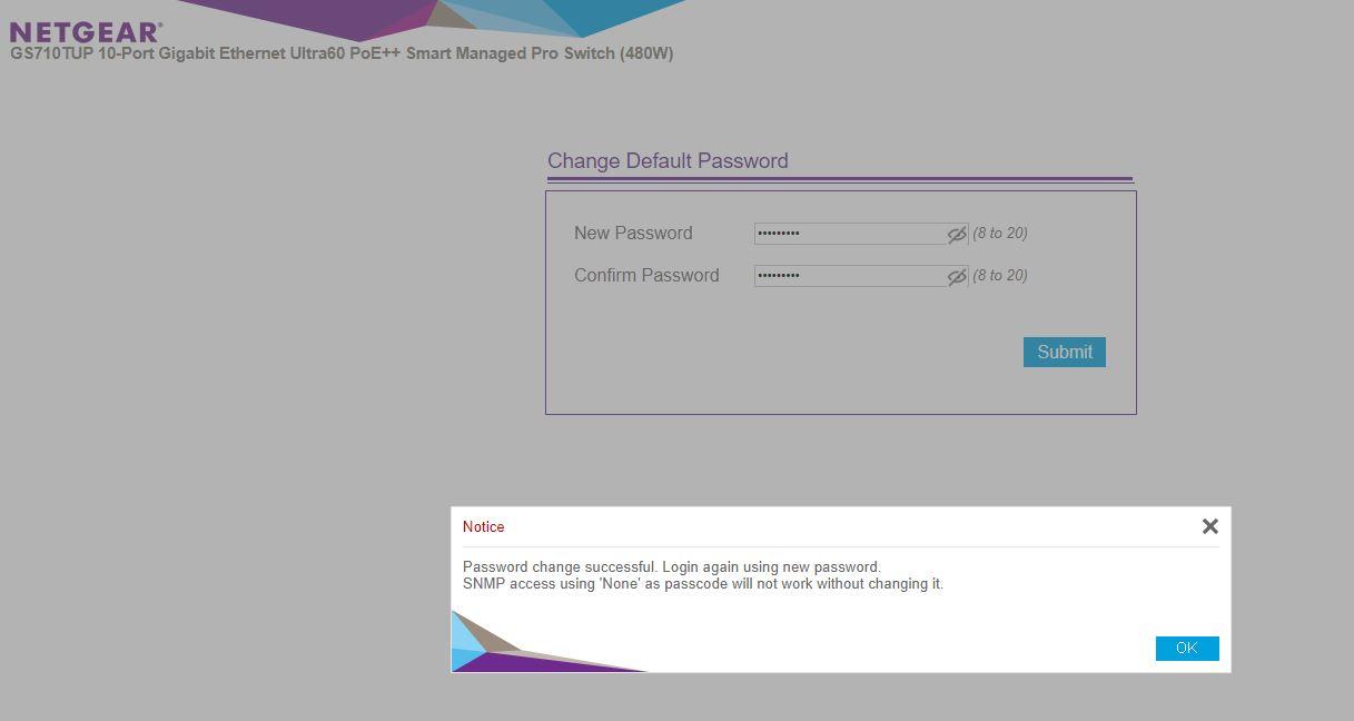 Netgear WebGUI Login Change Password
