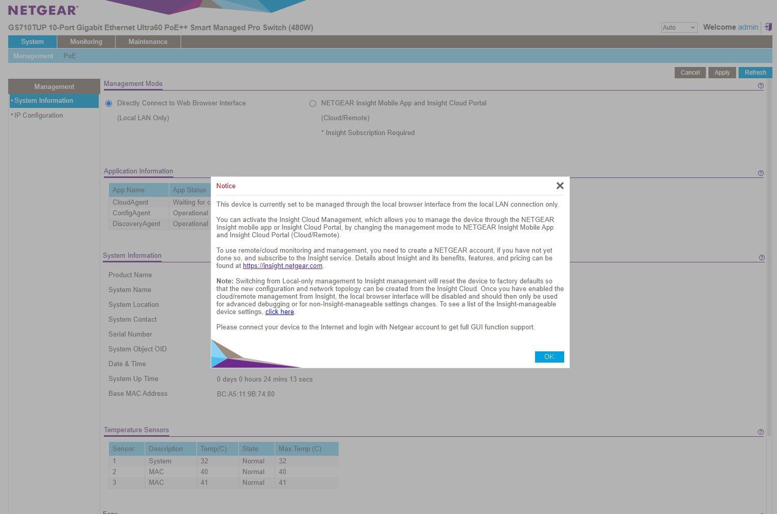 Netgear WebGUI Login Notice
