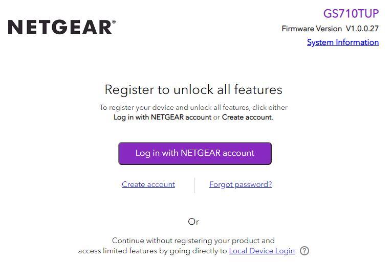 Netgear WebGUI Login