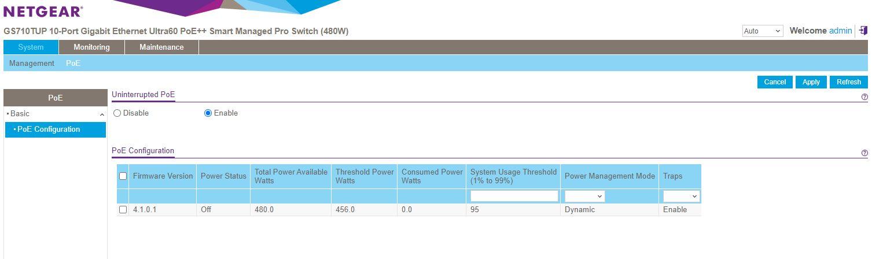 Netgear WebGUI Uninteruppted PoE