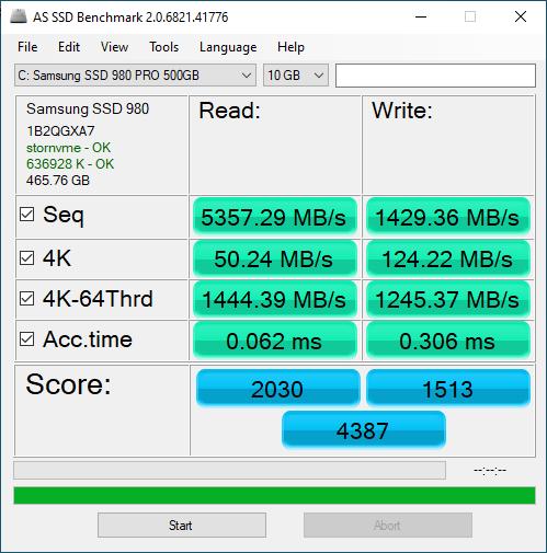 Samsung 980 Pro 500GB ASSSD 10GB