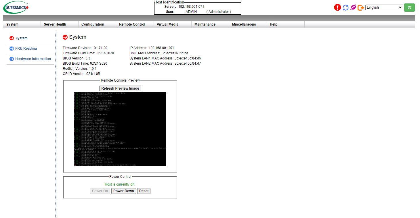 Supermicro IPMI Dashboard AST2500