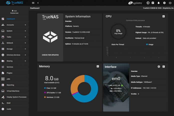 TrueNAS 12.0 Core Release Dashboard