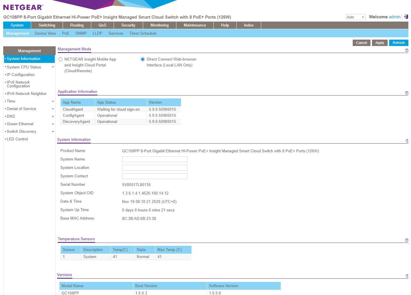 Netgear GC108PP Local Login After Insight Reg Key