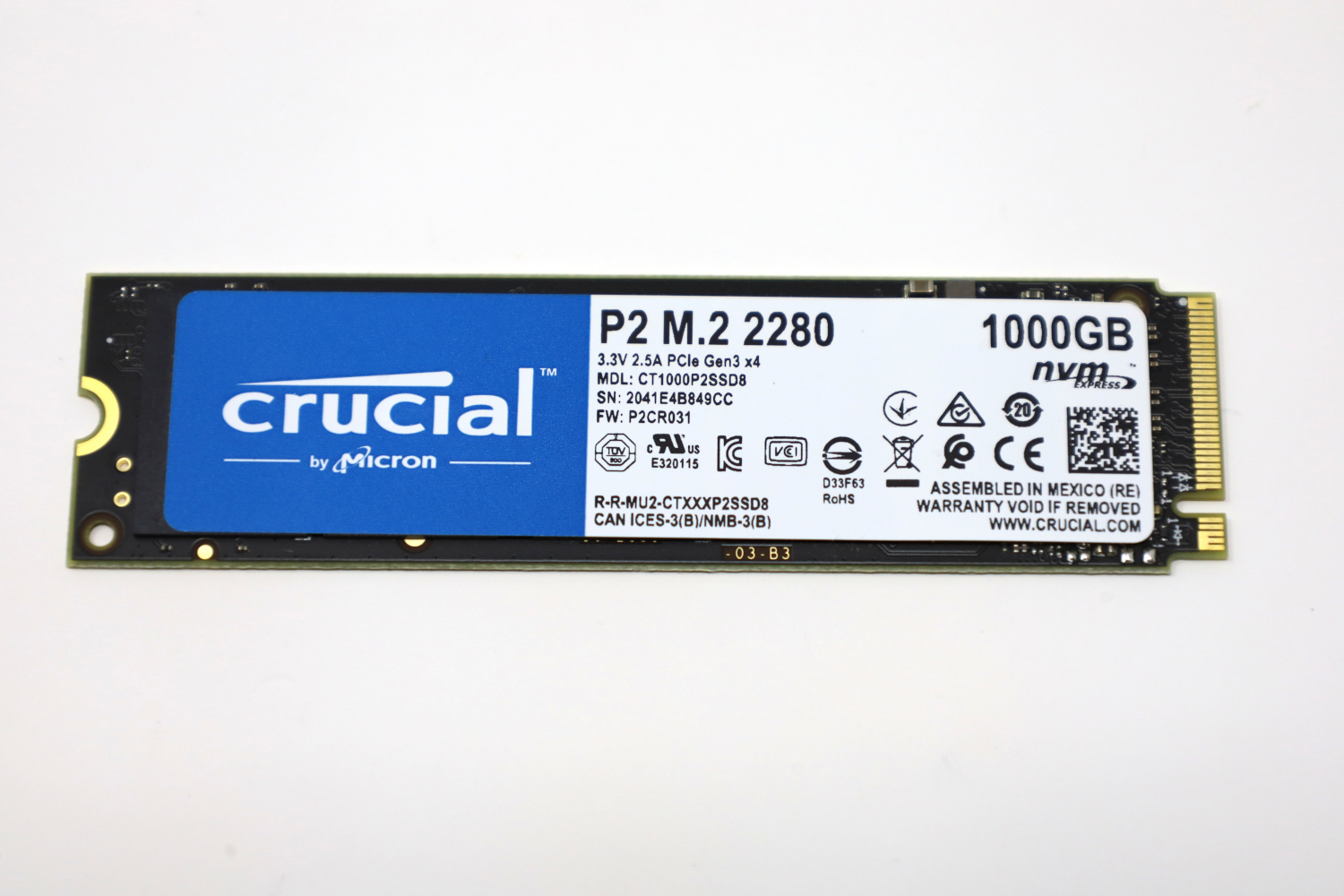 Crucial P2 1TB Front