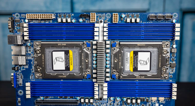 Gigabyte MZ72 HB0 CPU Sockets DIMMs And Top Power Connectors