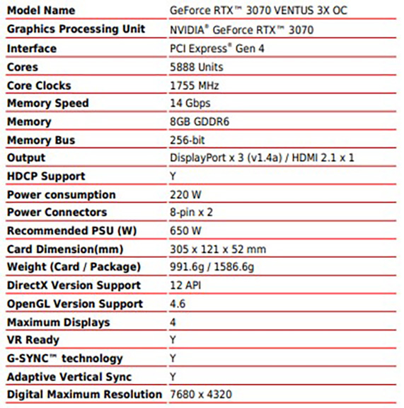 MSI RTX 3070 Ventus 3x OC Specifications
