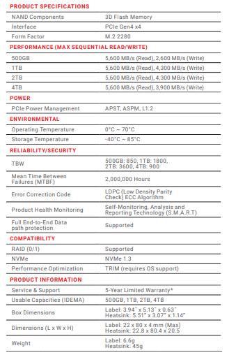 PNY CS3040 1TB Specs