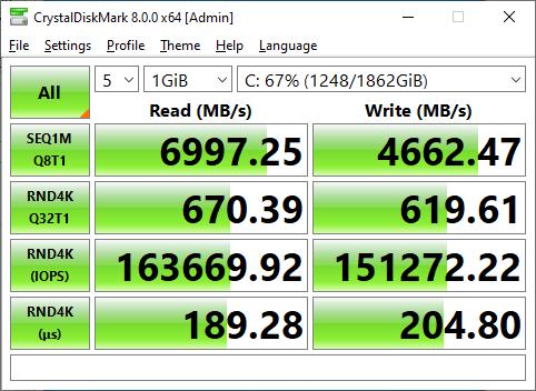 Sabrent Rocket 4 Plus 2TB CrystalDiskMark 1GB