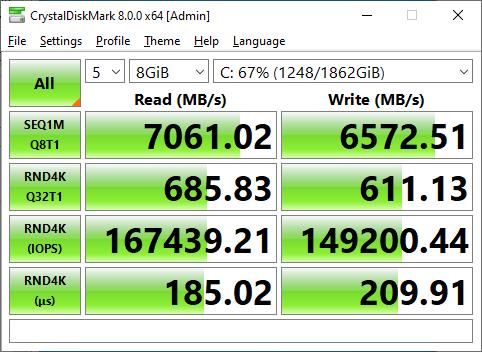 Sabrent Rocket 4 Plus 2TB CrystalDiskMark 8GB