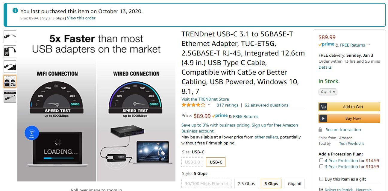 TRENDnet 5GbE Adapter On Amazon