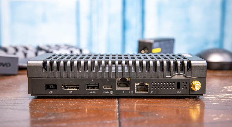 Lenovo ThinkCentre M90n IoT Rear With Accessory Background