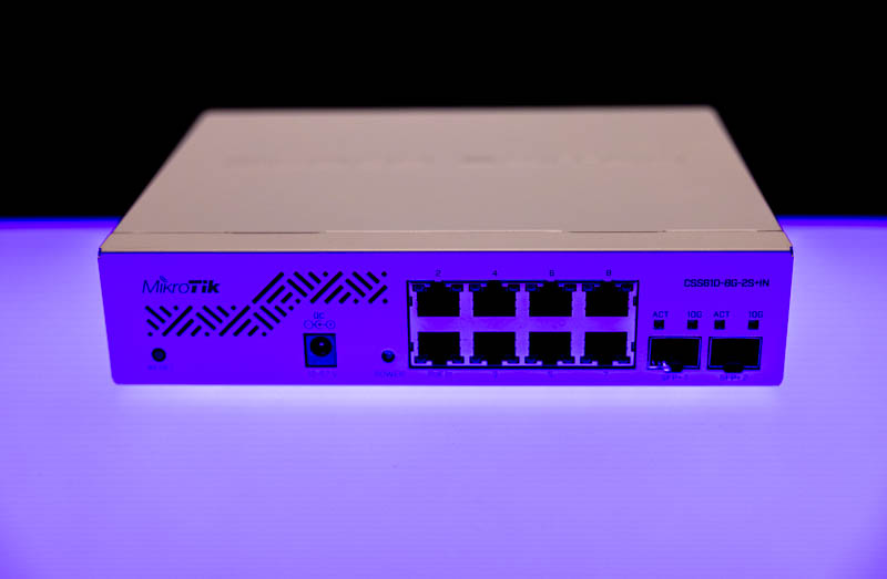 MikroTik CSS610 8G 2+IN Blue Front And Top
