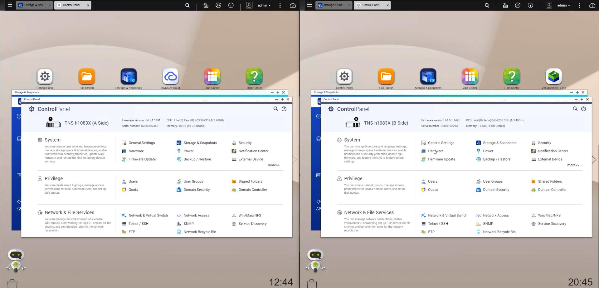 QNAP QNAP GM 1002 QuTS Hero A And B Side Control Panel