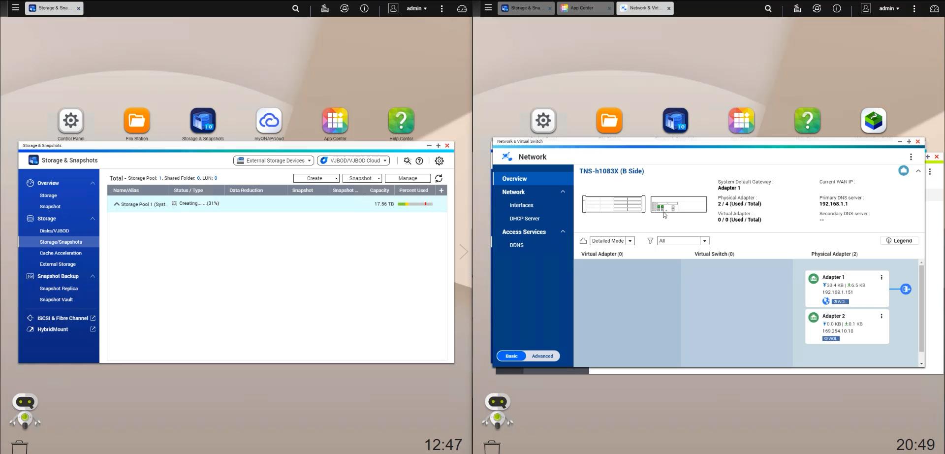 QNAP QNAP GM 1002 QuTS Hero Network Locations On B Side