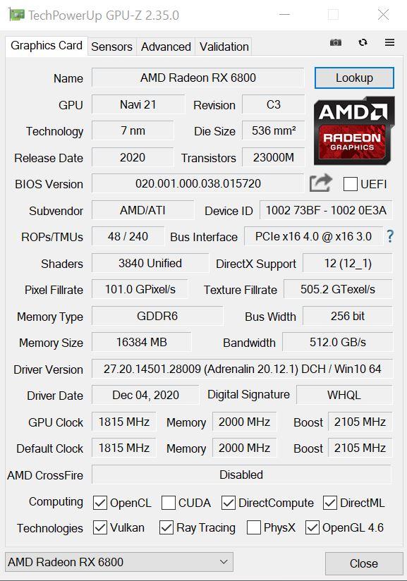 AMD Radeon RX 6800 GPUz
